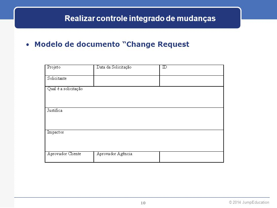 Realizar controle integrado de mudanças