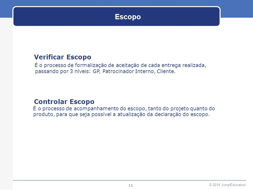 Escopo Verificar Escopo