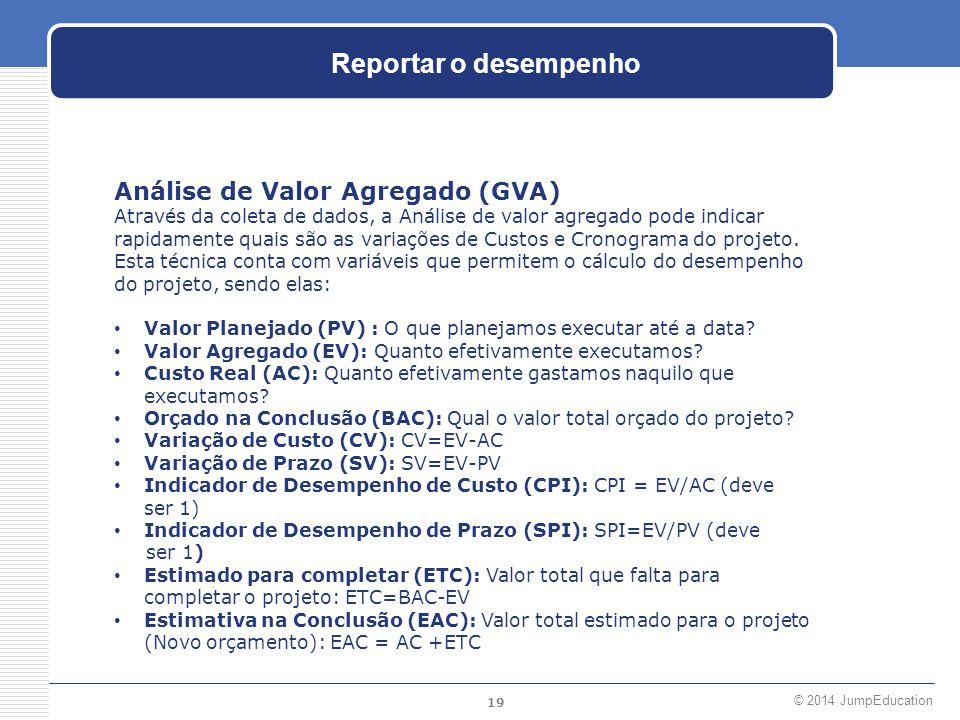 Reportar o desempenho Análise de Valor Agregado (GVA)