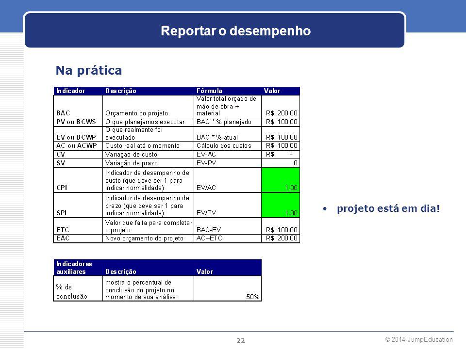 Reportar o desempenho Na prática projeto está em dia!