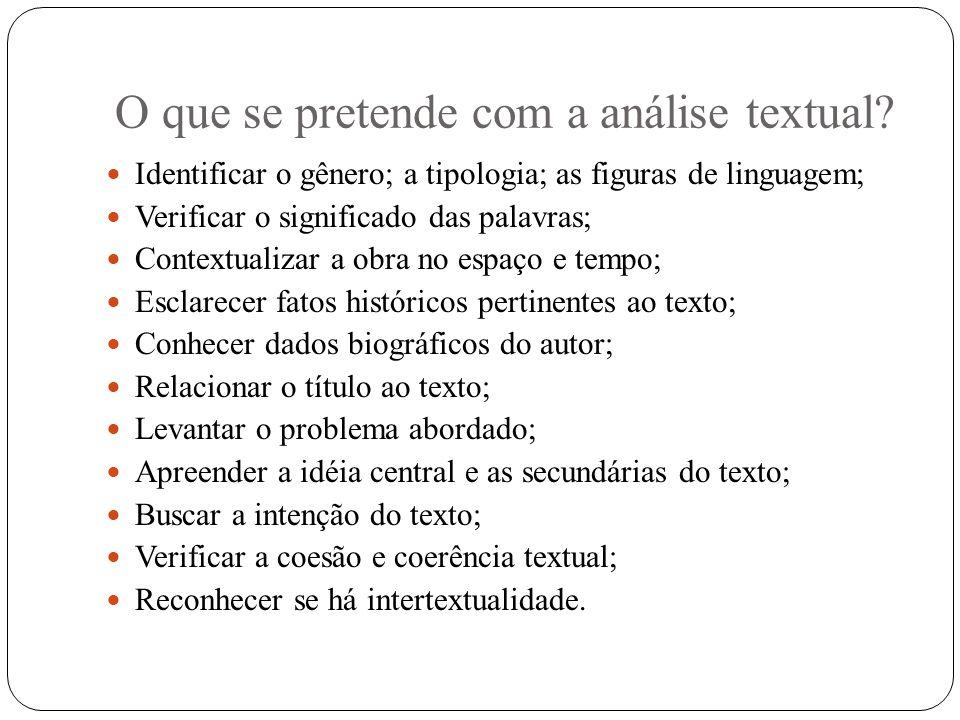 O que se pretende com a análise textual