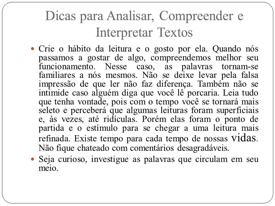 Dicas para Analisar, Compreender e Interpretar Textos