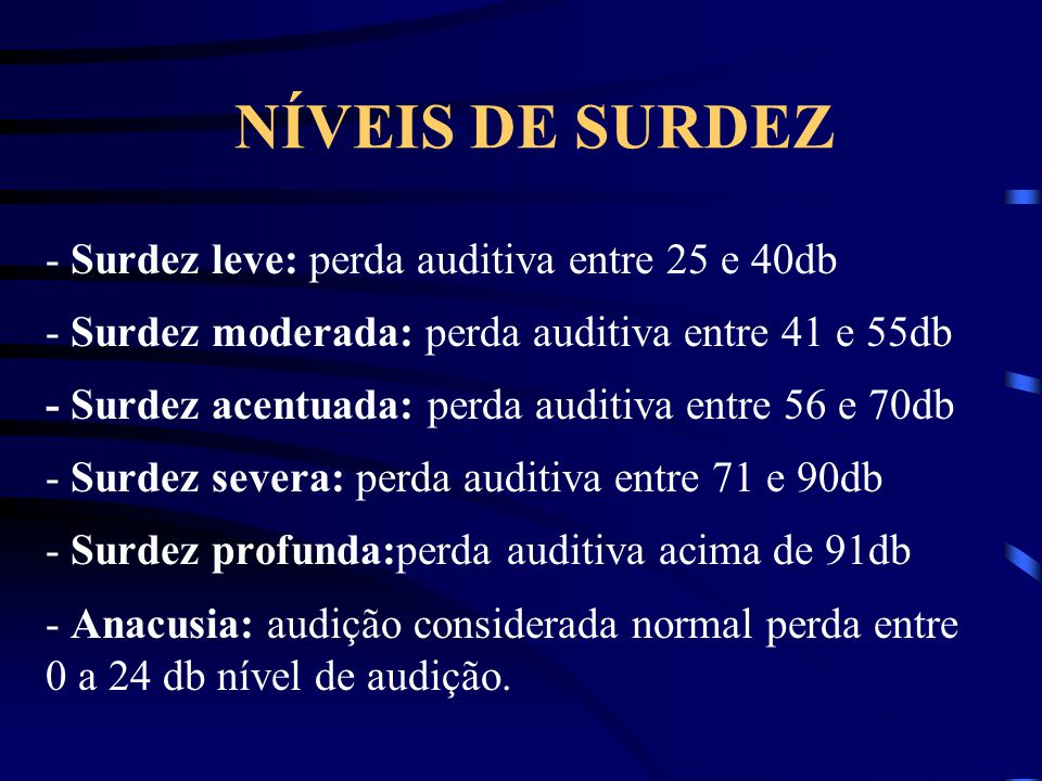 NÍVEIS DE SURDEZ - Surdez leve: perda auditiva entre 25 e 40db