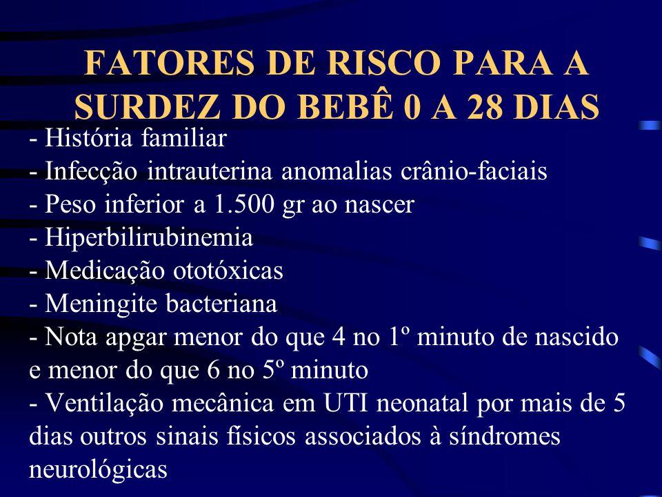 FATORES DE RISCO PARA A SURDEZ DO BEBÊ 0 A 28 DIAS