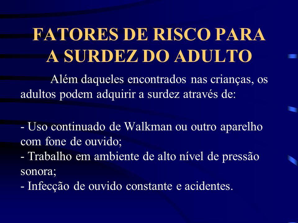 FATORES DE RISCO PARA A SURDEZ DO ADULTO