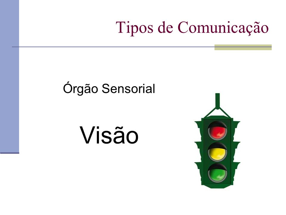 Tipos de Comunicação Órgão Sensorial Visão