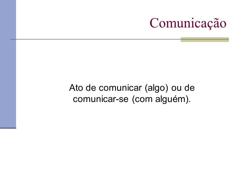 Ato de comunicar (algo) ou de comunicar-se (com alguém).