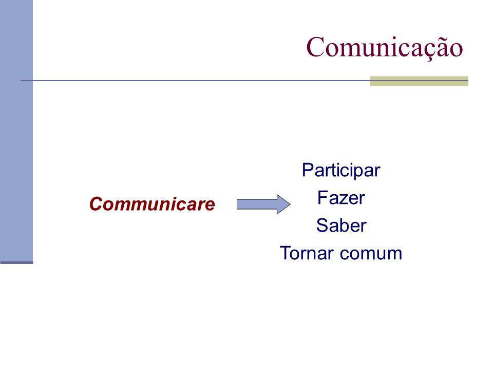 Comunicação Participar Fazer Saber Tornar comum Communicare