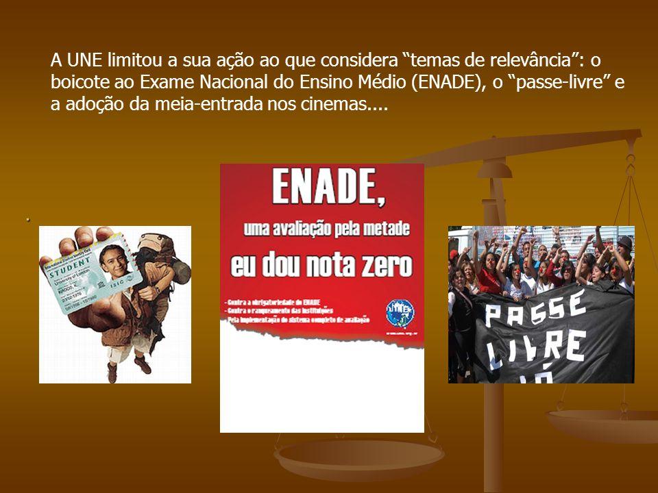 A UNE limitou a sua ação ao que considera temas de relevância : o boicote ao Exame Nacional do Ensino Médio (ENADE), o passe-livre e a adoção da meia-entrada nos cinemas....