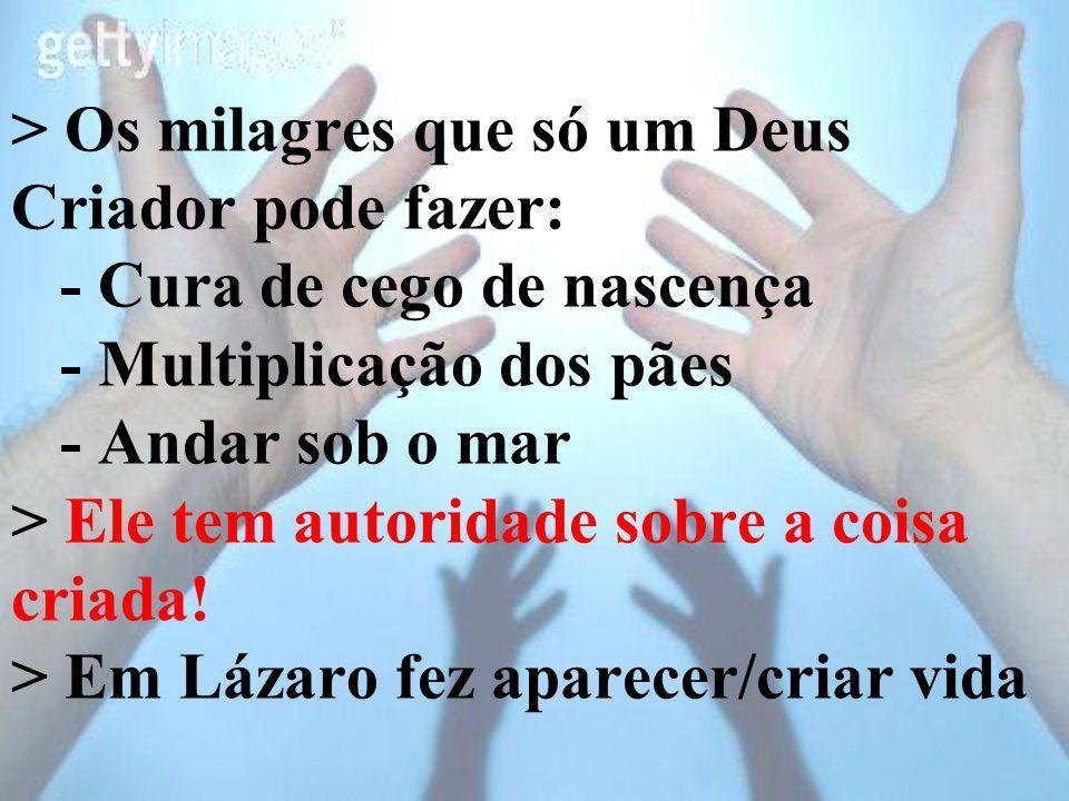 > Os milagres que só um Deus Criador pode fazer: - Cura de cego de nascença - Multiplicação dos pães - Andar sob o mar > Ele tem autoridade sobre a coisa criada.