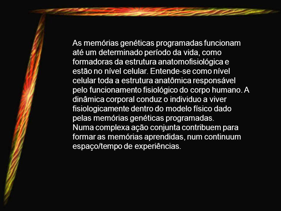 As memórias genéticas programadas funcionam até um determinado período da vida, como formadoras da estrutura anatomofisiológica e estão no nível celular. Entende-se como nível celular toda a estrutura anatômica responsável pelo funcionamento fisiológico do corpo humano. A dinâmica corporal conduz o individuo a viver fisiologicamente dentro do modelo físico dado pelas memórias genéticas programadas.