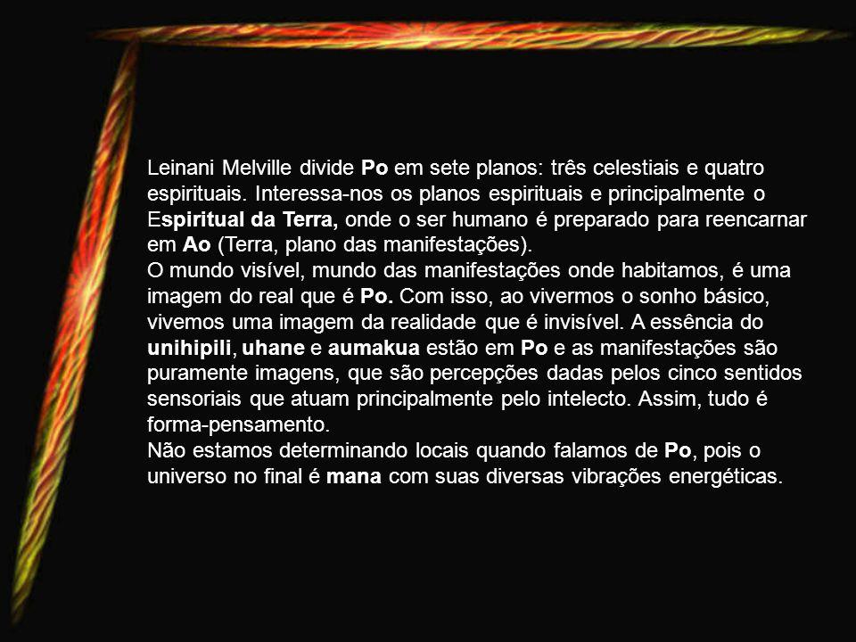 Leinani Melville divide Po em sete planos: três celestiais e quatro espirituais. Interessa-nos os planos espirituais e principalmente o Espiritual da Terra, onde o ser humano é preparado para reencarnar em Ao (Terra, plano das manifestações).