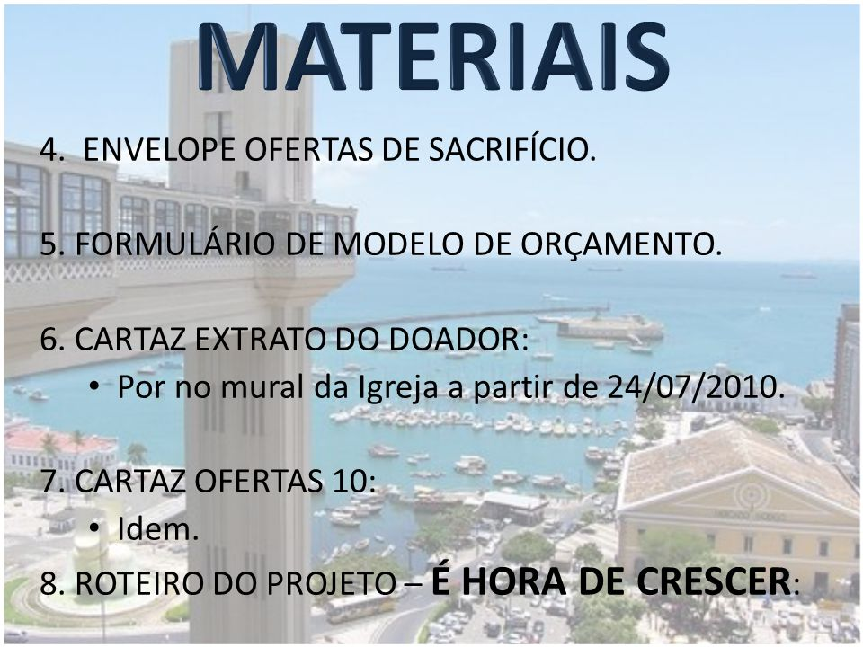 MATERIAIS 4. ENVELOPE OFERTAS DE SACRIFÍCIO.