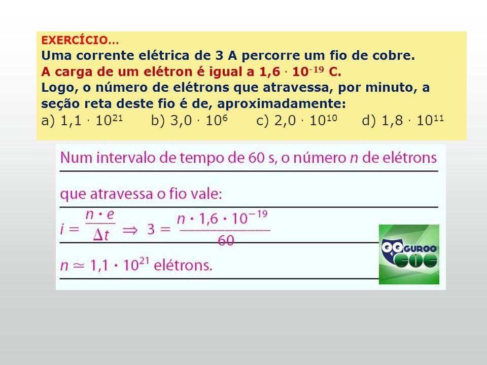 Fis-cad-2-top-6 – 3 Prova EXERCÍCIO… Uma corrente elétrica de 3 A percorre um fio de cobre. A carga de um elétron é igual a 1,6 . 10-19 C.