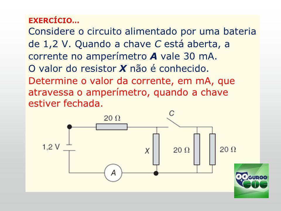 O valor do resistor X não é conhecido.