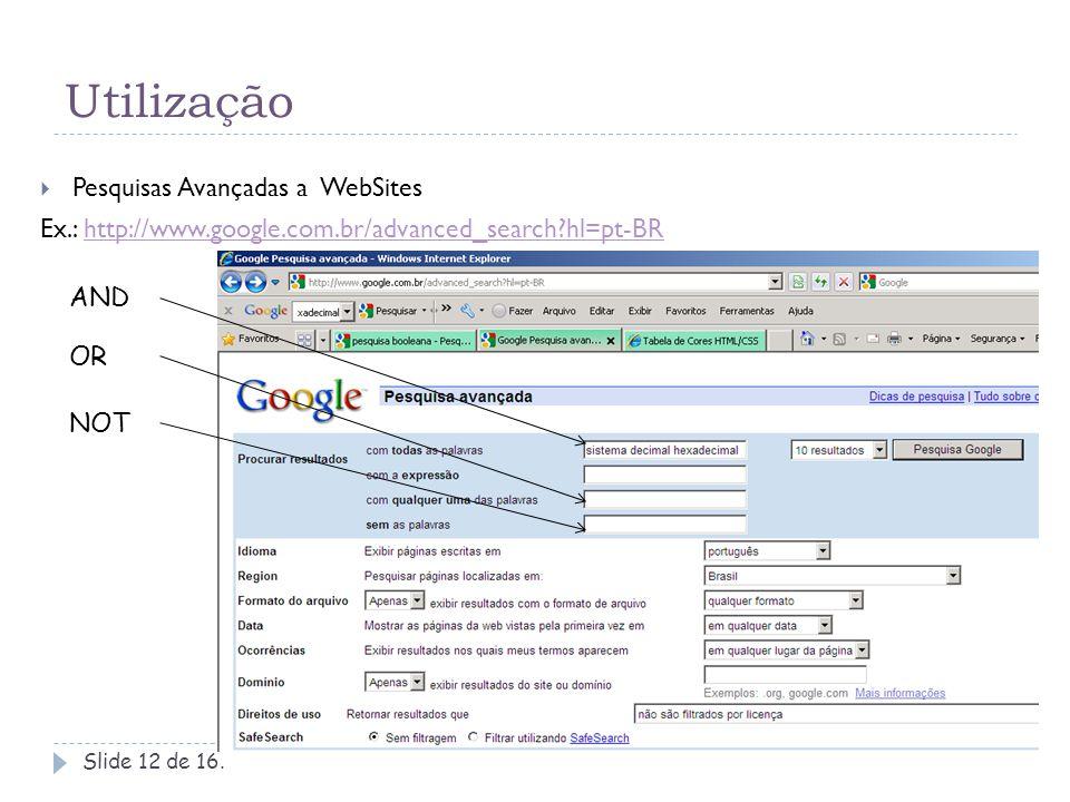 Utilização Pesquisas Avançadas a WebSites