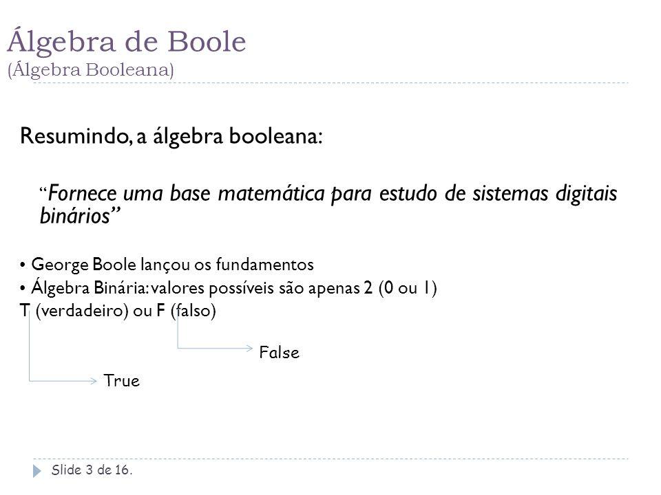 Álgebra de Boole (Álgebra Booleana)