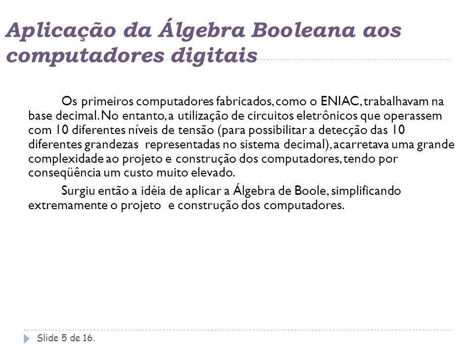 Aplicação da Álgebra Booleana aos computadores digitais