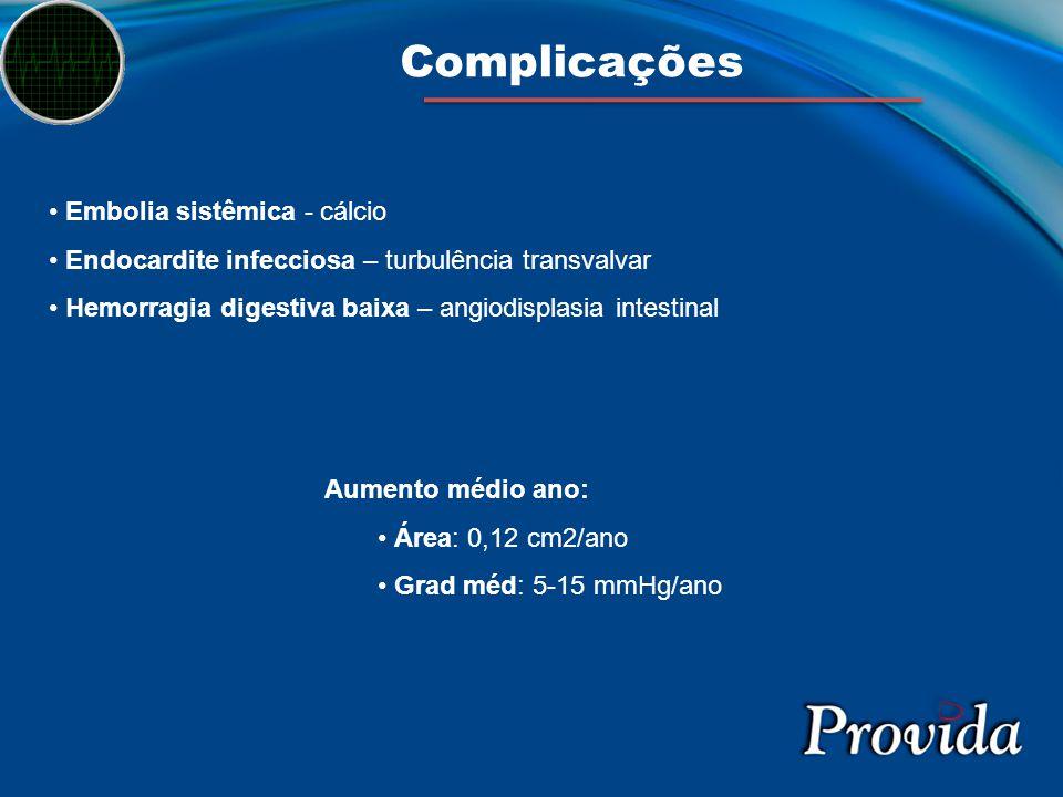 Complicações Embolia sistêmica - cálcio