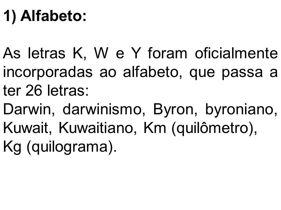 1) Alfabeto: As letras K, W e Y foram oficialmente incorporadas ao alfabeto, que passa a ter 26 letras: