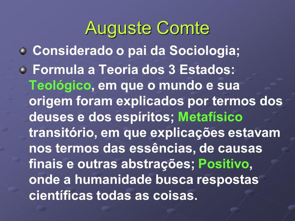 Auguste Comte Considerado o pai da Sociologia;