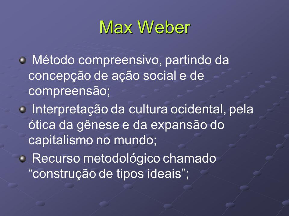 Max Weber Método compreensivo, partindo da concepção de ação social e de compreensão;