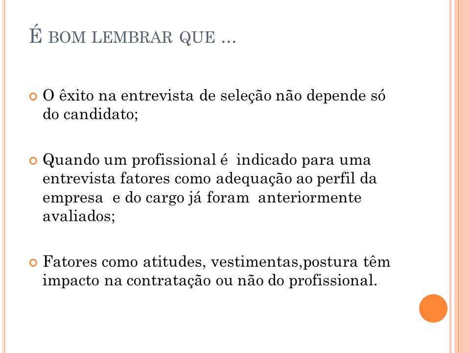 É bom lembrar que ... O êxito na entrevista de seleção não depende só do candidato;
