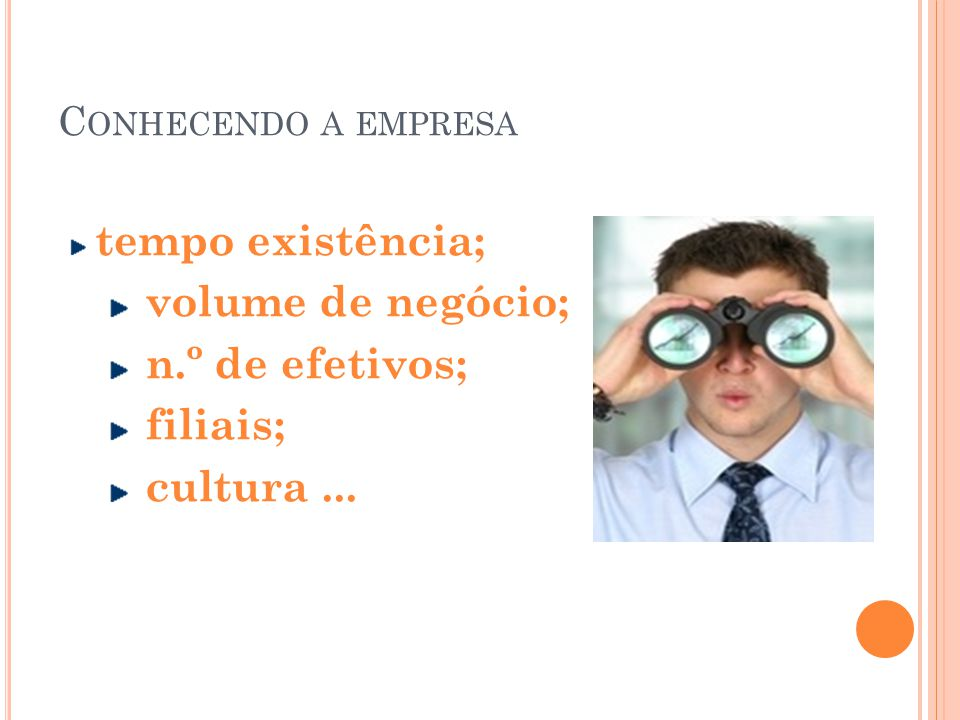 tempo existência; volume de negócio; n.º de efetivos; filiais;