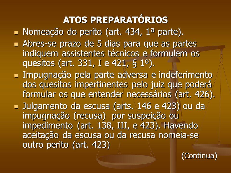 Nomeação do perito (art. 434, 1ª parte).