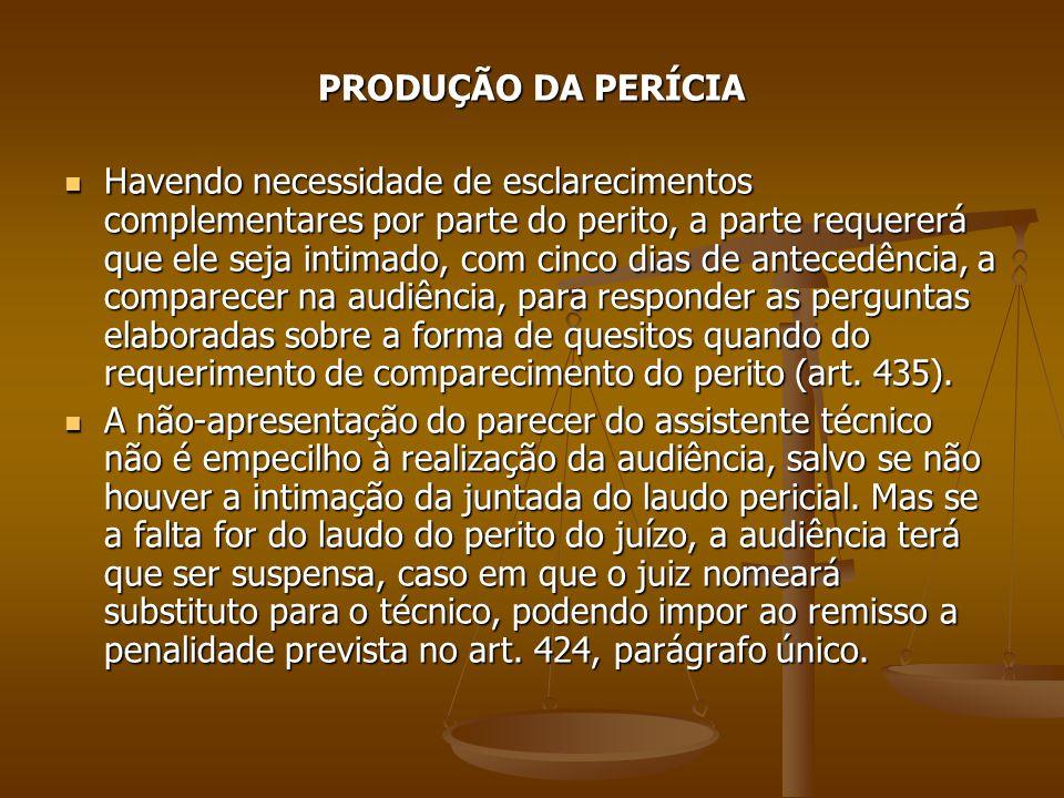 PRODUÇÃO DA PERÍCIA