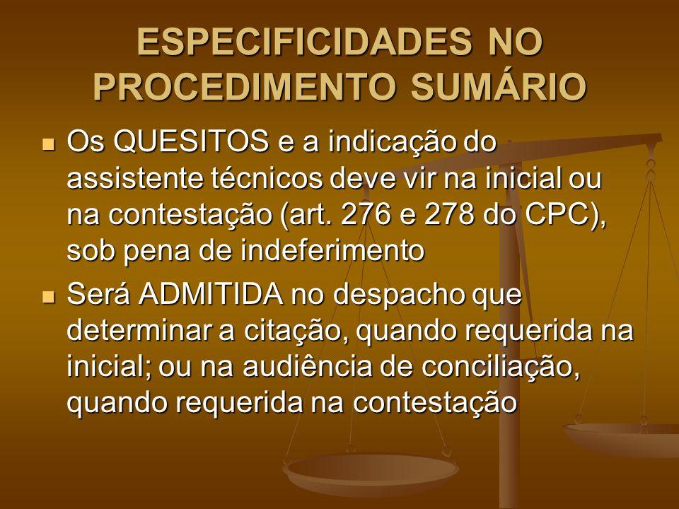 ESPECIFICIDADES NO PROCEDIMENTO SUMÁRIO