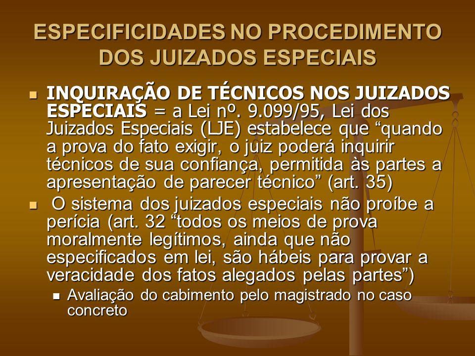 ESPECIFICIDADES NO PROCEDIMENTO DOS JUIZADOS ESPECIAIS