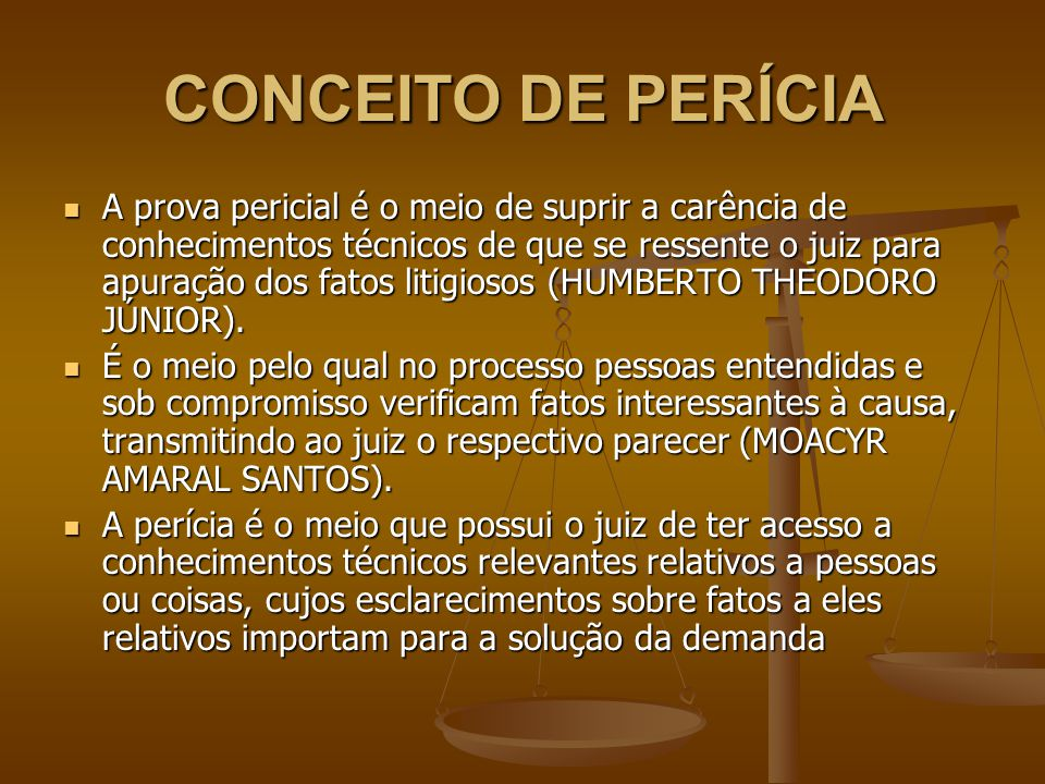 CONCEITO DE PERÍCIA