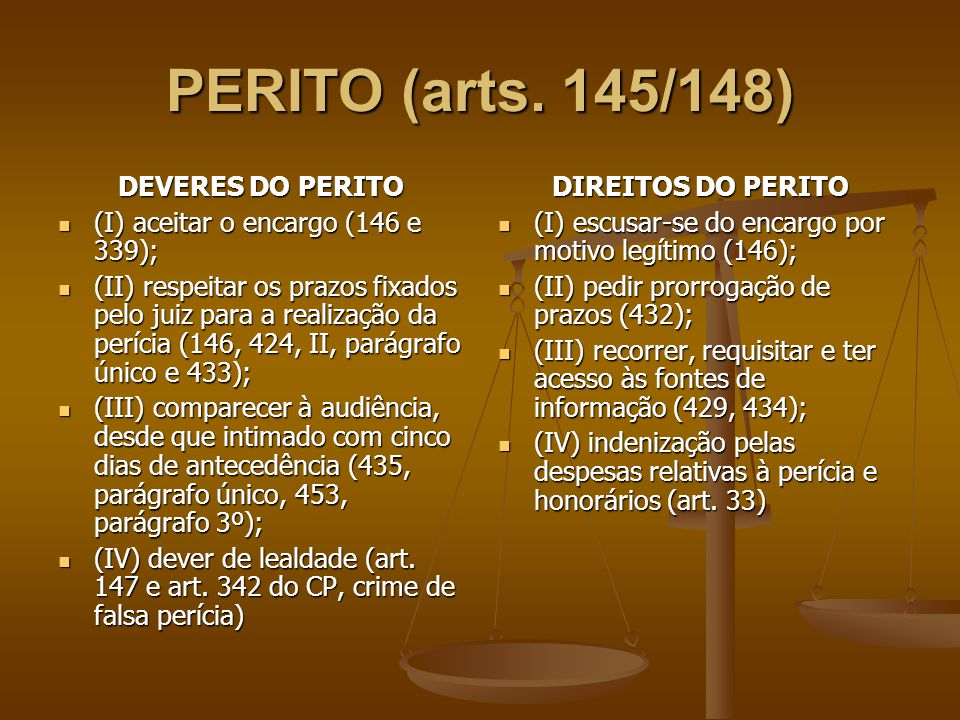 PERITO (arts. 145/148) DEVERES DO PERITO