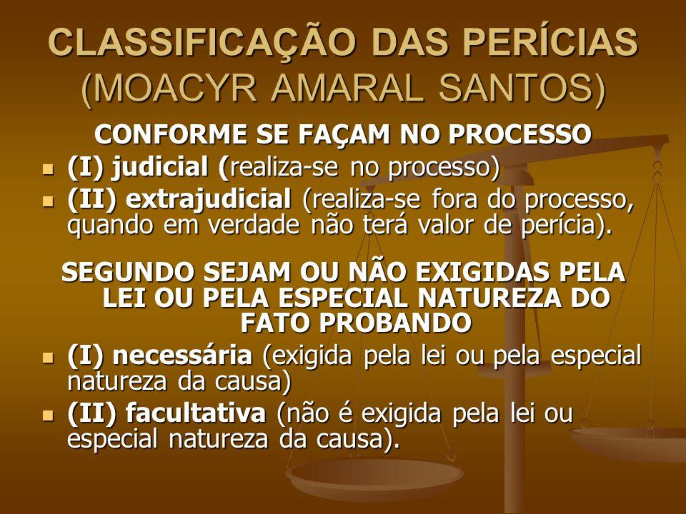 CLASSIFICAÇÃO DAS PERÍCIAS (MOACYR AMARAL SANTOS)