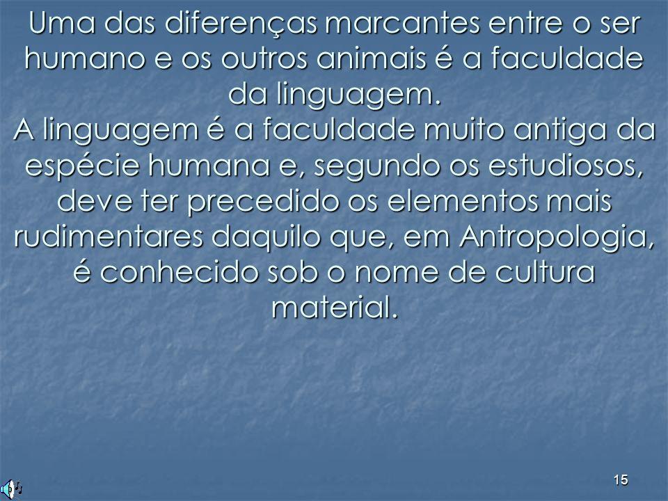Uma das diferenças marcantes entre o ser humano e os outros animais é a faculdade da linguagem.