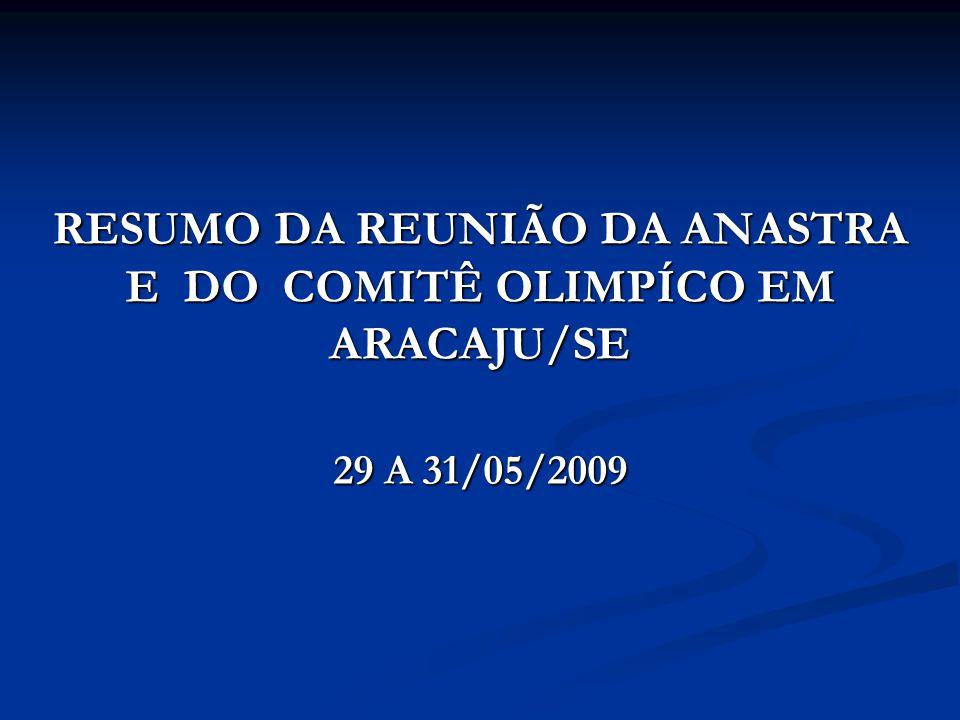 RESUMO DA REUNIÃO DA ANASTRA E DO COMITÊ OLIMPÍCO EM ARACAJU/SE