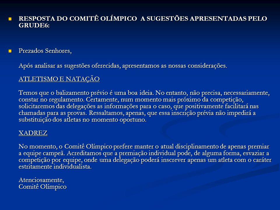 RESPOSTA DO COMITÊ OLÍMPICO A SUGESTÕES APRESENTADAS PELO GRUDE6: