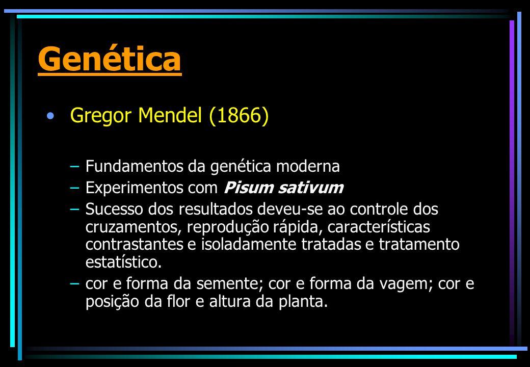 Genética Gregor Mendel (1866) Fundamentos da genética moderna
