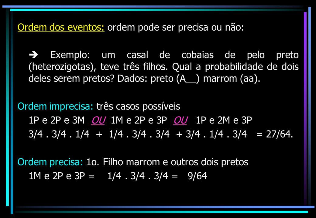 Ordem dos eventos: ordem pode ser precisa ou não: