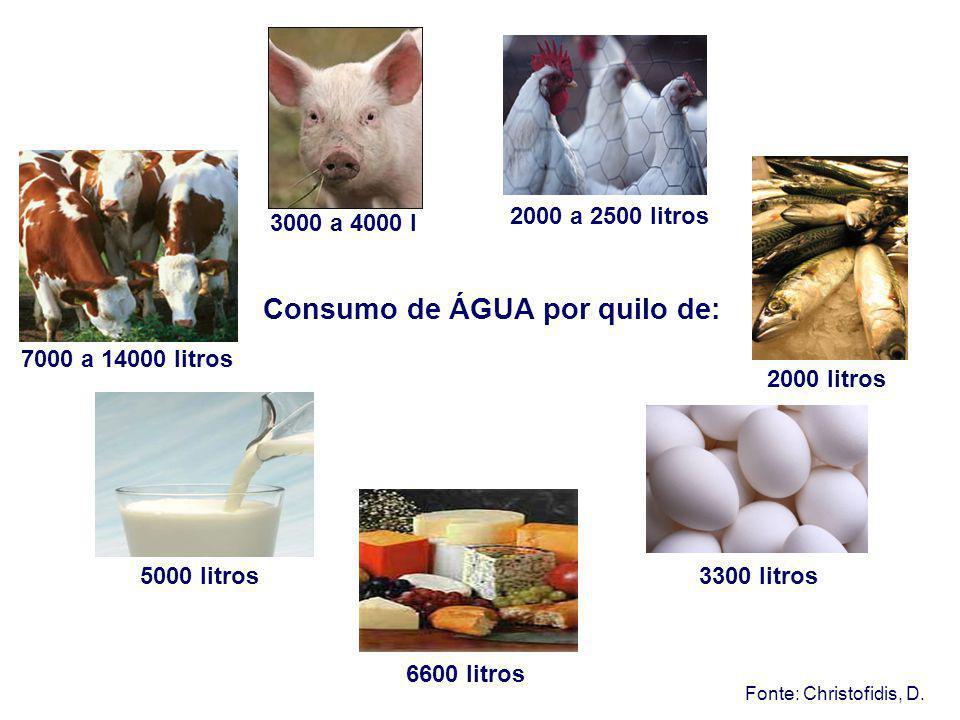 Consumo de ÁGUA por quilo de: