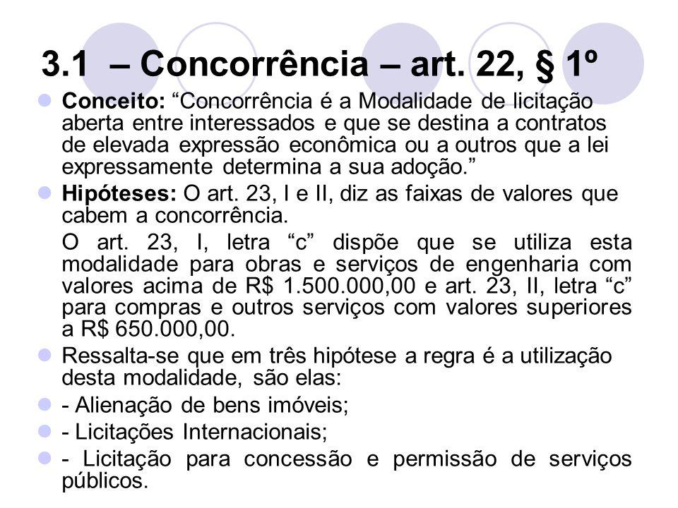 3.1 – Concorrência – art. 22, § 1º