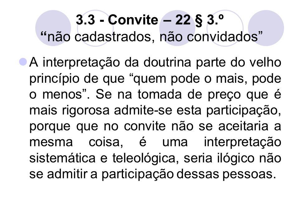 3.3 - Convite – 22 § 3.º não cadastrados, não convidados