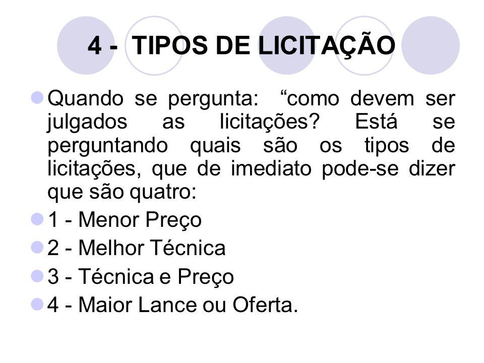 4 - TIPOS DE LICITAÇÃO