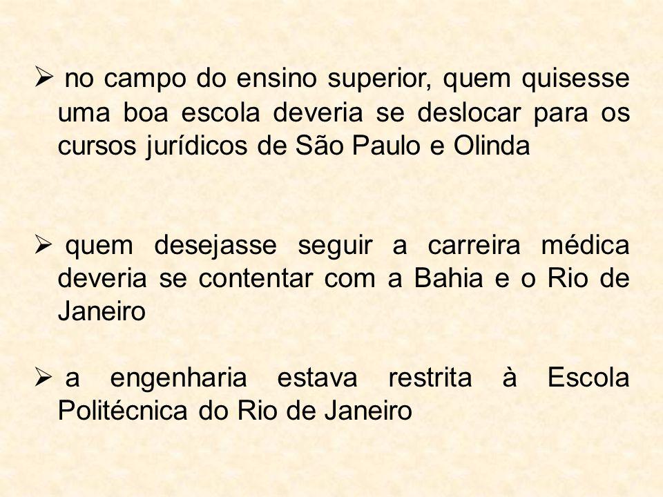 no campo do ensino superior, quem quisesse uma boa escola deveria se deslocar para os cursos jurídicos de São Paulo e Olinda