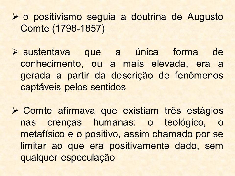 o positivismo seguia a doutrina de Augusto Comte (1798-1857)