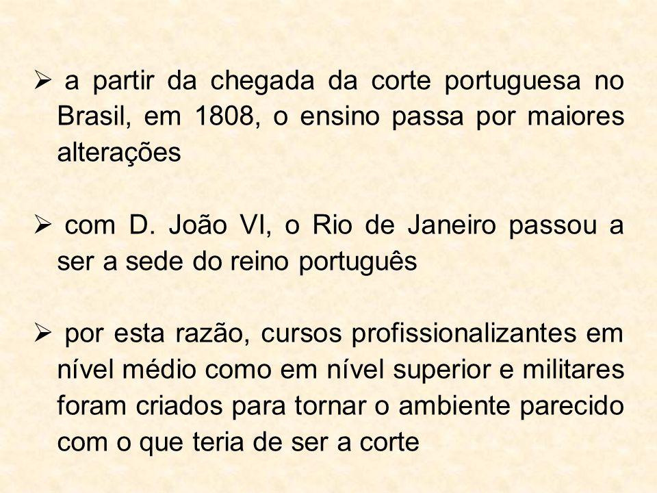 a partir da chegada da corte portuguesa no Brasil, em 1808, o ensino passa por maiores alterações