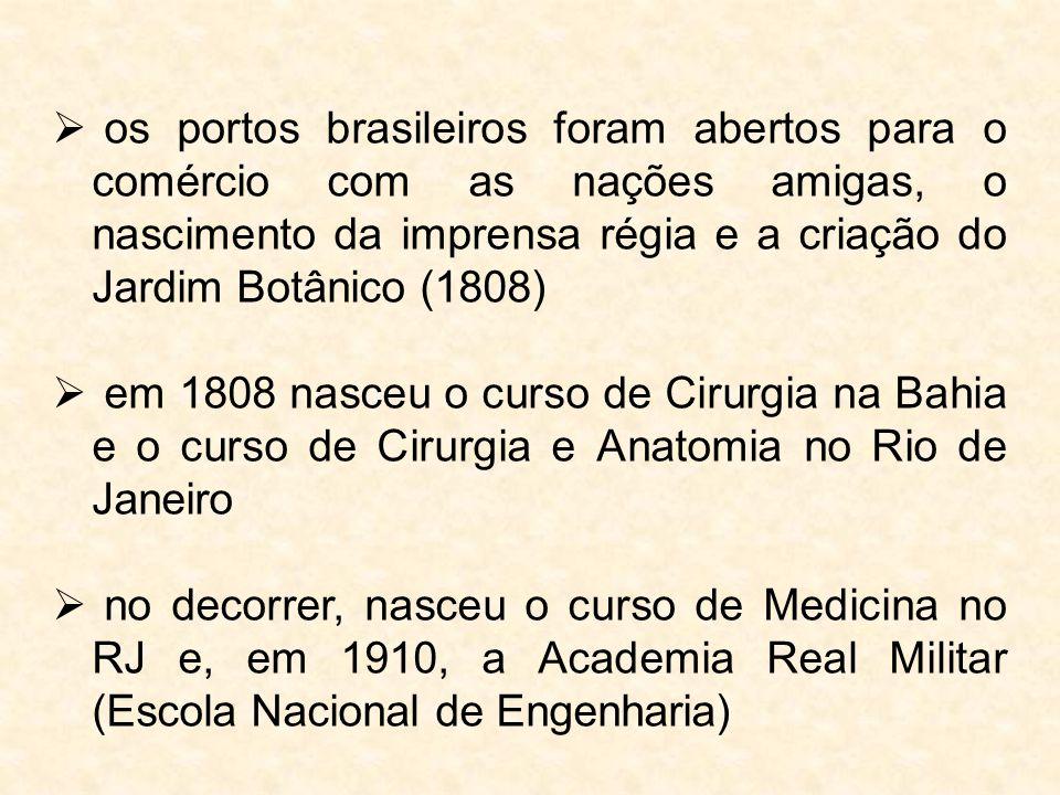 os portos brasileiros foram abertos para o comércio com as nações amigas, o nascimento da imprensa régia e a criação do Jardim Botânico (1808)