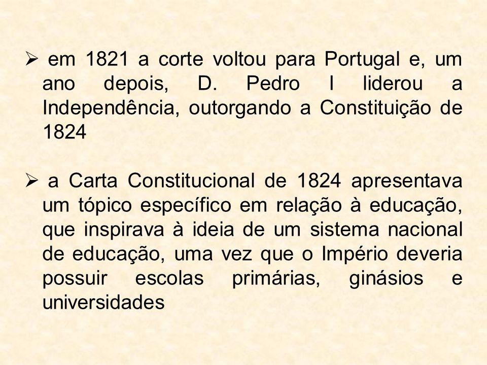 em 1821 a corte voltou para Portugal e, um ano depois, D