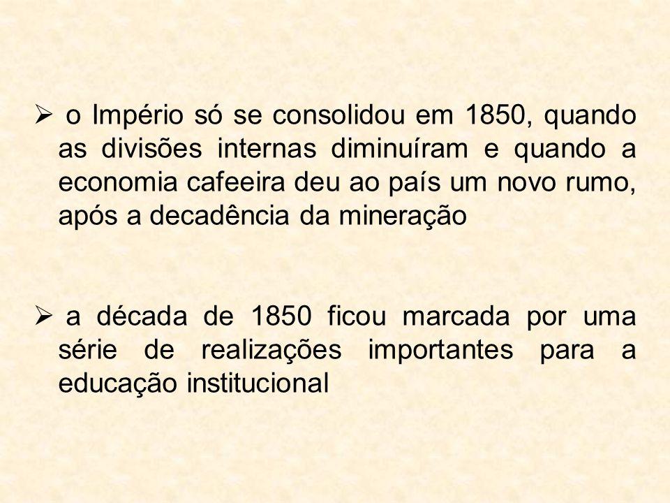 o Império só se consolidou em 1850, quando as divisões internas diminuíram e quando a economia cafeeira deu ao país um novo rumo, após a decadência da mineração
